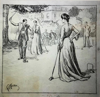 Charcoal Drawing, Croquet, by Richard Vincent Culter