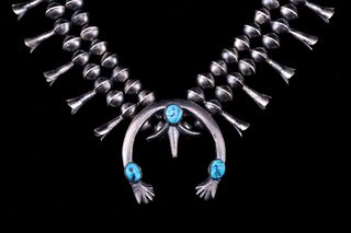 Navajo Old Pawn Style Turquoise Squash Blossom