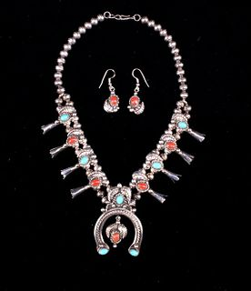 Navajo Squash Blossom Necklace by Alice Long