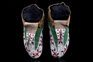 Sioux Fully Top Beaded Bifurcated Moccasins 19th C