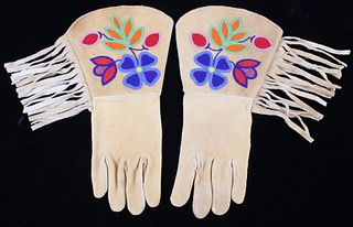 Montana Crow Beaded Tanned Hide Gauntlet Gloves