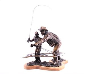 "Jack Woods ""Learning to Fly Fish"" Large Bronze"