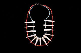 Exotic Red White Heart Turquoise & Tine Necklace