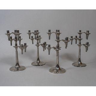 Fritz Nagel y Caesar Stoffi para BMF. 4 candelabros Orion en metal cromado / Set of 4 chrome candelabra