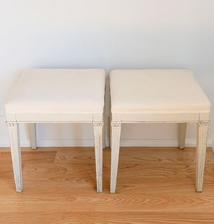 Pair of Antique Scandinavian White Washed Upholstered Stools