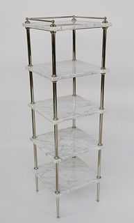 Restoration Hardware White Marble and Chrome Étagère