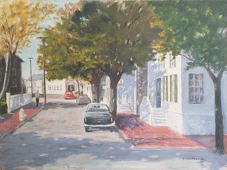 "James L. Dodwell Oil on Artist's Board, ""Union Street - Nantucket"""