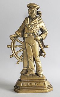 "19th Century Brass Mariner Sailor Figural Doorstop ""Britains Pride"""
