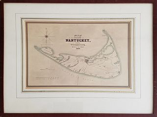 Vintage Map of Nantucket 1838 Reprint
