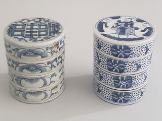 Two 19th Century Chinese Blue and White Porcelain Stacking Condiment Dishes