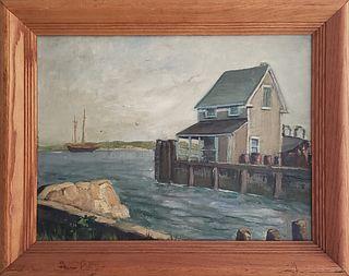 Vintage Oil on Artist Board Nantucket Island Service Wharf