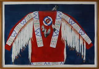 "Theodore B. Villa Mixed Media ""Native American Ceremonial Dress Shirt"""