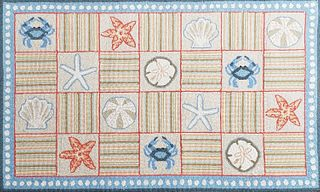 Claire Murray Seashell and Crab Hooked Rug