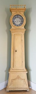Scandinavian Yellow Painted Tall Case Clock, circa 1870