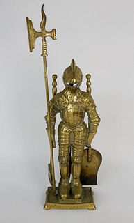 Brass Knight in Suit of Armor Fireplace Tool Set