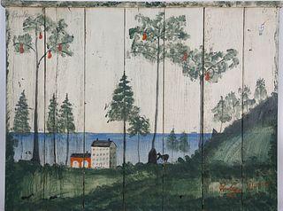 Folk Art Painted Wood Panel Fireplace Screen