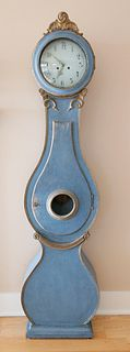 Swedish Gustavian Mora Tall Case Clock in Blue Paint, 19th Century