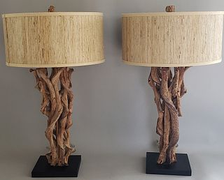Pair of Jamie Young Driftwood Lamps
