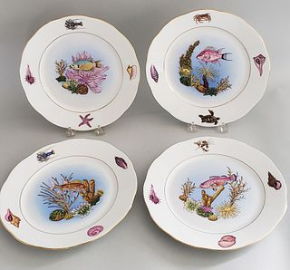 Four Hand Painted Herend Hungary Bermuda Reef Fish Plates