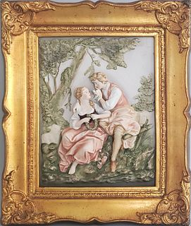 Antique French Bisque Porcelain Courting Couple Plaque