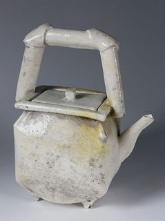 Piero Fenci Covered and Footed Sculptural Japanese Style Teapot