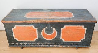 Scandinavian Paint Decorated Dovetailed Pine Blanket Box, 19th Century