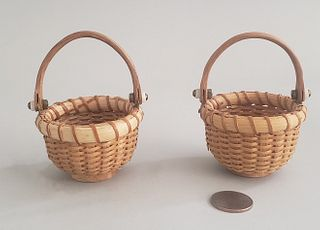 Pair of Henry Huyser Miniature Nantucket Baskets