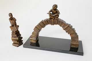 "Two Gary Lee Price Bronze Sculptures ""Young Child Seated at the Arch of Books"""