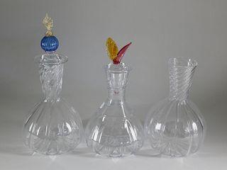 3 Robert Dane Hand Blown Glass Wine Carafes, 20th Century