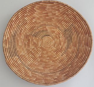 Papago Coiled Round Shallow Basket