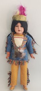 Antique Madame Alexander Porcelain Face Native American Doll