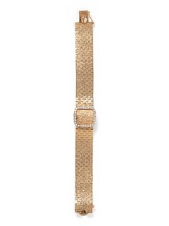 LONGINES, 14K YELLOW GOLD AND DIAMOND SURPRISE WRISTWATCH