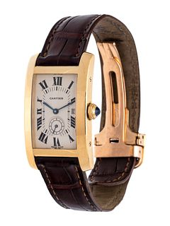 CARTIER, 18K YELLOW GOLD REF. 8012905 'TANK AMERICAINE' WRISTWATCH