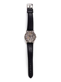 BVLGARI, 18K WHITE GOLD SKELETON WRISTWATCH