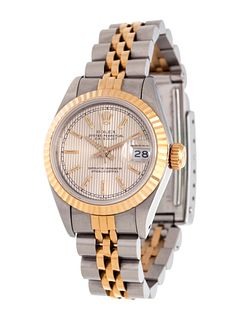 ROLEX, STAINLESS STEEL AND 18K YELLOW GOLD REF. 69173 'OYSTER PERPETUAL DATEJUST' WRISTWATCH, CIRCA 1989