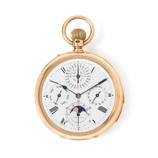 T. BOXELL, 18K YELLOW GOLD PERPETUAL CALENDAR, MOON PHASE, HALF QUARTER HOUR REPEATER OPEN FACE POCKET WATCH