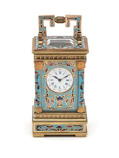 FRENCH, GILT-METAL AND ENAMEL CARRIAGE CLOCK