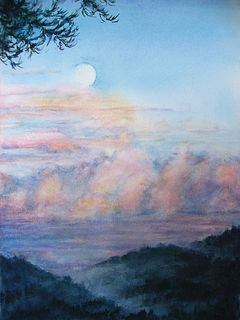 Ayris Hatton Moonrise at Sunset