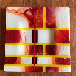 """Mark Schatz 12"""" Sqaure Red, White and Yellow Plate"""