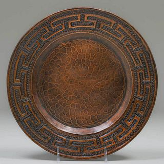 4 Mexican Arts & Crafts Hammered Copper Trays