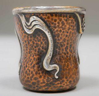 Small Joseph Heinrichs Hammered Copper & Silver Vase