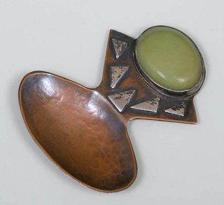 Arts & Crafts Copper & Silver Tea Caddy Spoon c1910
