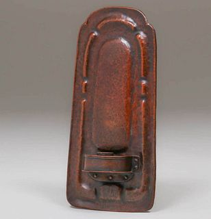 Stickley Brothers Hammered Copper Candle Sconce c1910