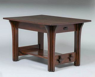Limbert Two-Drawer Long Corbels Library Table c1910