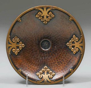 Roycroft Etruscan Hammered Copper & Brass Overlay Tray