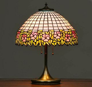 Unique Art Glass & Metal Co Leaded Glass Lamp