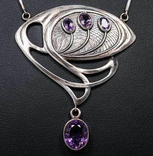 Art Nouveau Sterling Silver Faceted Amethyst Necklace