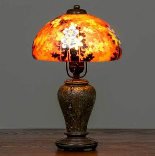 Handel Reverse-Painted Butterfly Boudoir Lamp c1920