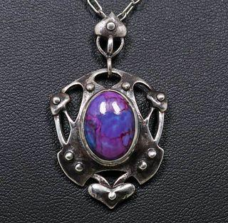Art Nouveau Sterling Silver Purple Glass Pendant