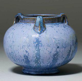 Fulper Pottery Three-Handled Blue Crystalline Vase